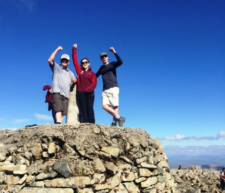 Sean Moloney, Gemma Mills and Phil Page at the summit of Ben Nevis
