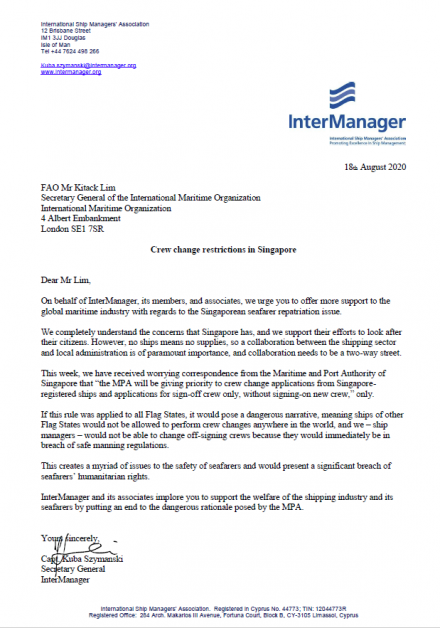 InterManager's Letter to the Secretary General of the International Maritime Organization